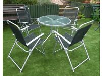 Black & Silver Patio Set with Four Chairs