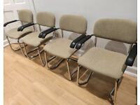 4 metal and fabric pale green dining chairs