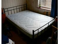 Caen Double Bed Metal Frame & Mattress Black