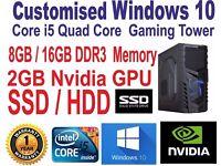 Windows 10 Customised Core i5 Quad Core Gaming SSD 8GB / 16GB DDR3 PC Computer