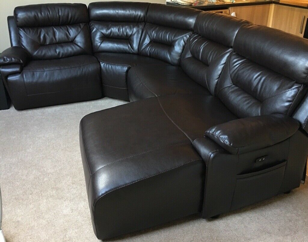 Brown Leather Electric Reclining Corner Sofa Chaise Longue