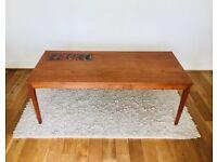 Long Vintage 1960s Danish Teak tiled coffee supper table