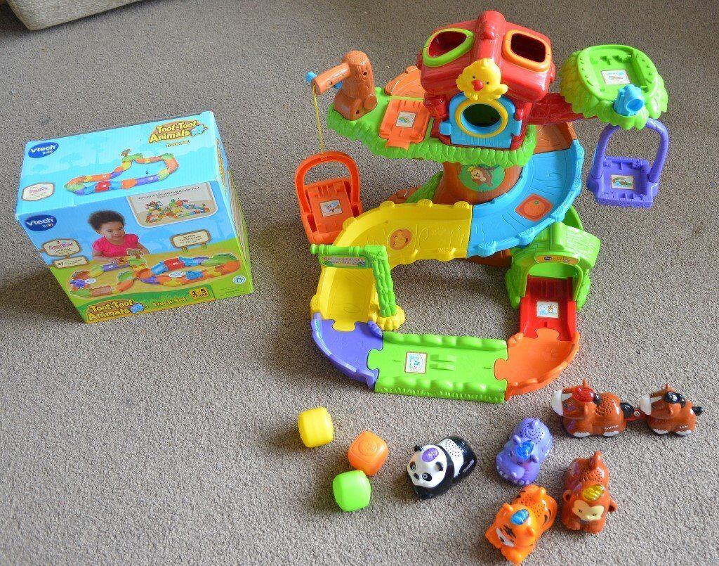 Vtech Toot toot animals toy bundle tree house, 6 animals, track set