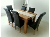 Solid Oak Dining Table and Six Real Leather Rollback Chairs, Excellent Condition