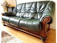 Two x 3 seat Leather Sofa - Dakota Bottle Green - Fire resistant - 3pc Removable - Made in Belgium