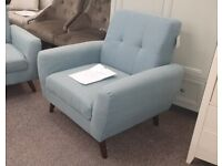 Monza Armchair blue linen fabric Can Deliver