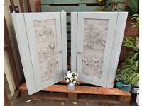 """ Safari "" Themed Painted Shabby Chic Pine Corner Cupboards"