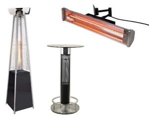 Commercial Patio Heaters ON SALE - Floor model, wall-mounted, heated tables