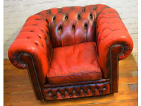 Chesterfield oxblood armchair vintage chairs leather antique lounge club tub vintage red castors