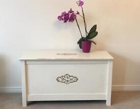 Cream vintage storage chest/ toy box/ blanket box