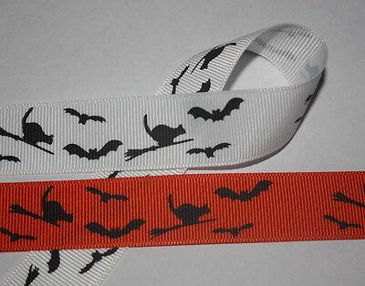 Halloween Cats and Bats White Orange 7/8
