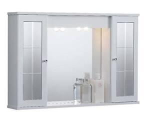 Specchiera specchio arredo bagno bianco 2 ante contenitori design moderno  eBay