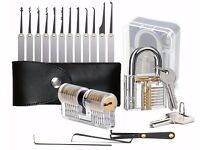 NEW! 15 Pieces Two Transparent Padlocks Training Exercise Lock Set, Lock Pick Set, Extractor Tool