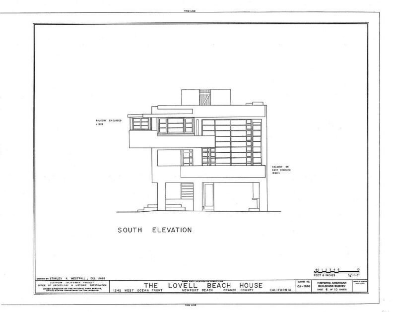 Iconic Rudolph Schindler design, Lovell Beach House, architectural drawings