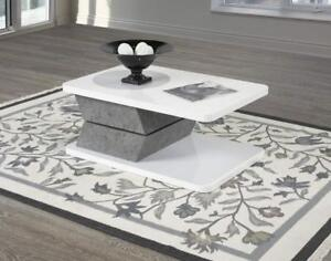 Brassex Rotating Coffee Table - White Glossy In Stock In Canada
