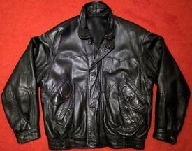 Men's 'up-market' Black Leather Jacket - Size 40 -42 chest. - JUST £39 ovno