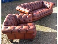 Oskar Large Three Seater Chesterfield Leather Sofa & Club Chair | RRP £3,500