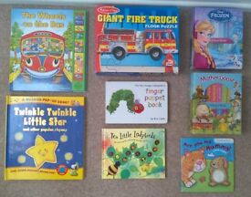 Seven 7 Toddler Books (Musical, Pop-Up and Touch & Feel Books) & a Fire Truck Jigsaw Puzzle