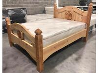 4ft6 Double Bespoke Hand Carved Bed With A Luxury 2000 Pocket Sprung Pillow Top Mattress