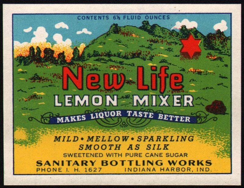 Vintage soda pop bottle label NEW LIFE LEMON MIXER Indiana Harbor Ind n-mint+
