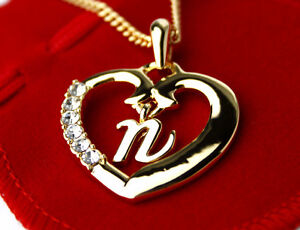N Alphabet In Heart -Alphabet-N-18ct-Gold-