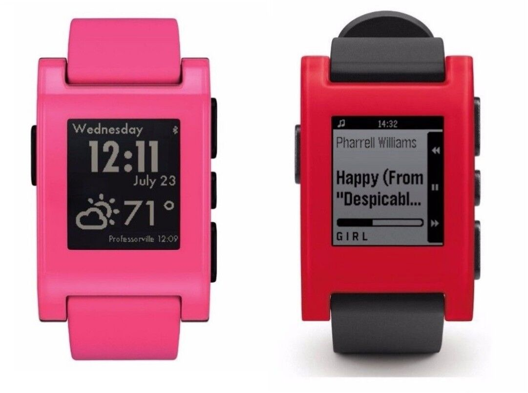 Pebble Time Smart Watch For Iphone And Android Devices Red 501 Smartwatch Bluetooth Apple Water Resistant Rechargeable