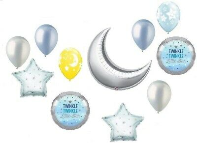 Star Latex Balloons (Twinkle Little Star Silver Moon Baby Boy Shower Party 11 Mylar & Latex)