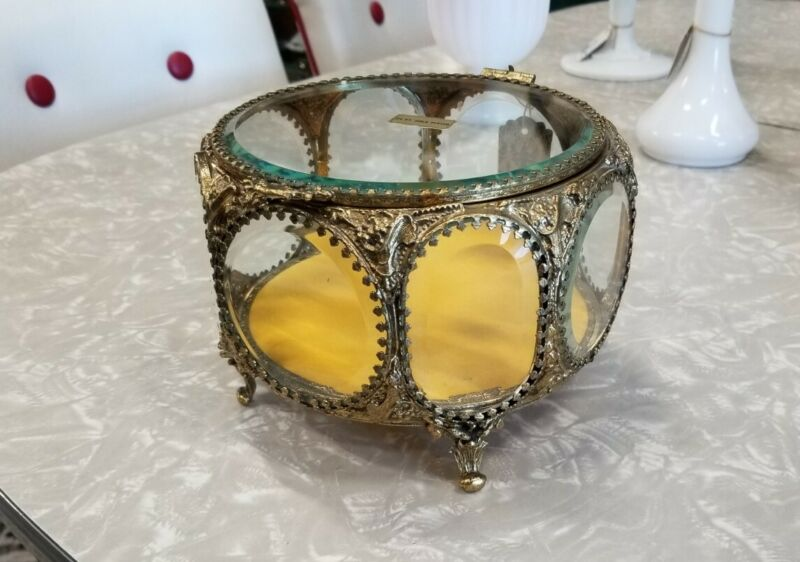 Vintage 24k Ormolu Jewelry Casket 8 Sided Beveled Glass Ornate Trinket Box