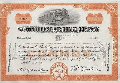Westinghouse Air Brake Company     1950S Stock Certificates