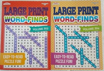 2 Large Print Word Search Find Hunt Puzzle Books EASY TO READ