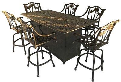 Fire pit propane bar table set 7 piece outdoor cast aluminum Palm Tree bar stool