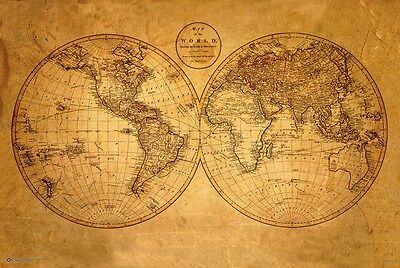 (OLD WORLD MAP POSTER - 24 x 36 ANTIQUE GEOGRAPHY VINTAGE 10500)
