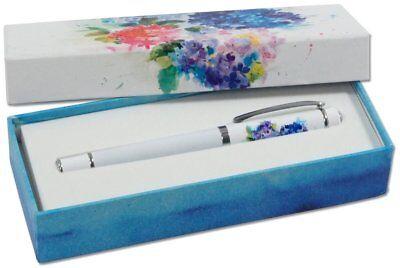 New HYDRANGEAS Designer Roller Ball Black Ink Pen Peter Pauper Press Brass PEN ()