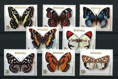 Butterflies mnh set of 8 stamps 1979 Rwanda #905-12