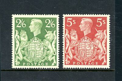 GB 1939/48   2s 6d (G) and 5s Red  (2)  unmounted MINT     (P1186)