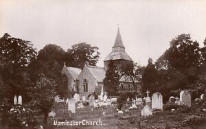 Upminster-church-unused-real-photographic-old-postcard-1905-14