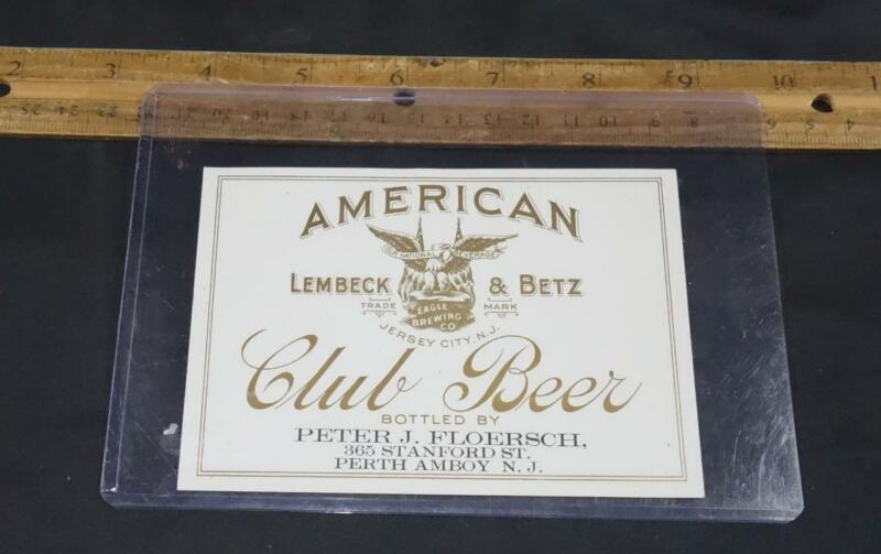 Vintage American Club Beer Bottle Label Lembeck & Betz New Jersey Eagle Brewing