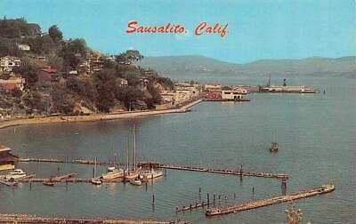SAUSALITO, CA California BRIDGEWAY PROMENADE Boats~Marina~Stores c1950s (Promenade Store)