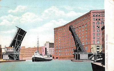 Chicago  Il  Illinois  State Street Draw Bridge Ship Passing Thru  1917 Postcard