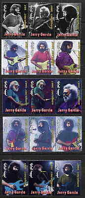 MONGOLIA JERRY GARCIA - GRATEFUL DEAD STAMPS - BOB GRUEN PHOTOS - $9.00 VALUE!