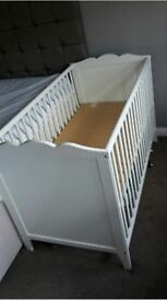 White IKEA HENSVIK Cot and a hardly used anti-allergy mattress 120 x 60cm