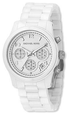 Michael Kors Women's Chronograph Runway White Ceramic Bracelet Watch MK5161 New