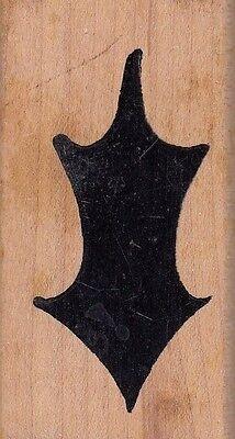 """solid leaf 7592 denami design Wood Mounted Rubber Stamp 1 1/2 x 2 1/2"""""""
