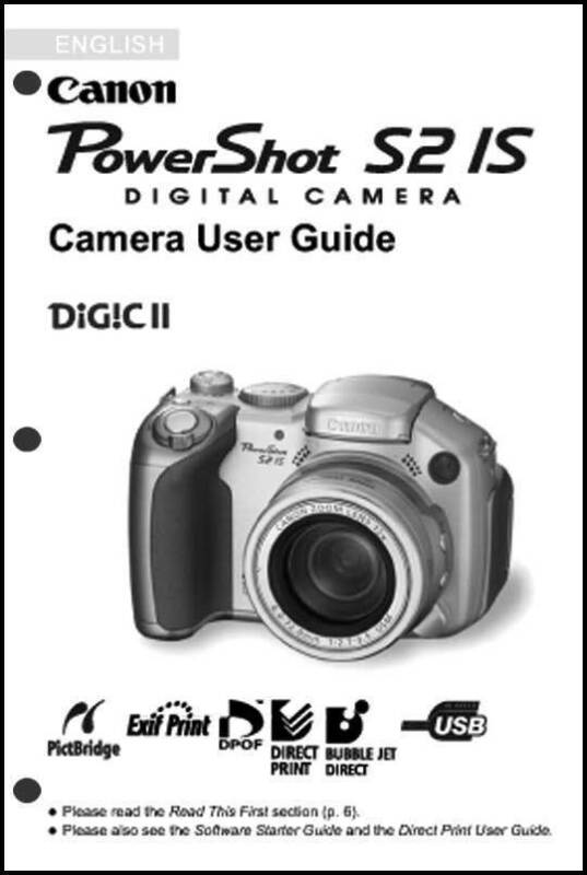 Canon Powershot S2 IS Digital Camera User Guide Instruction  Manual
