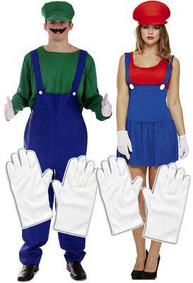 Mens Luigi + Ladies Mario Couples 80s 90s Plumber Fancy Dress Costume + Gloves