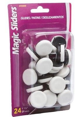 "Magic Sliders® 1-1/8"" Nail-On Glides (24-Pack) Floor Protecters Chair Sliders"