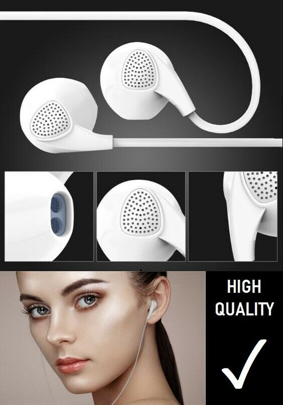 White Earphones Headphones with Microphone for iPhone & Sams