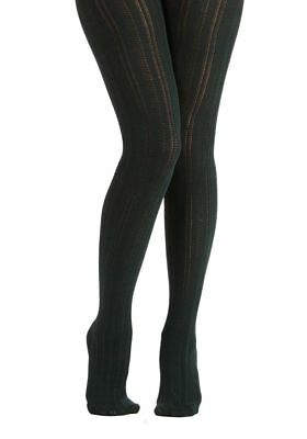 Dark Green Tights (NWT Bustling Belle Tights Dark Green Patterned Lacey Woolly Modcloth)