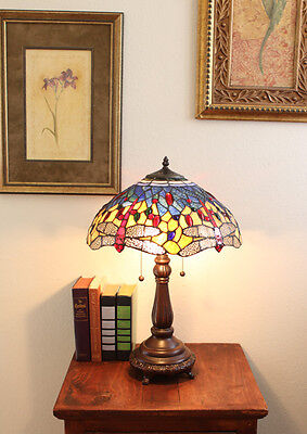 Stained Glass Tiffany Style Red Dragonfly Table Lamp 2 Lights 16