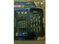 Ryobi 17 piece wood drill bit set with grip case